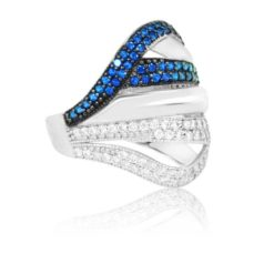Modern Design Women's Ring Inlaid With Sapphire And Diamond Stone