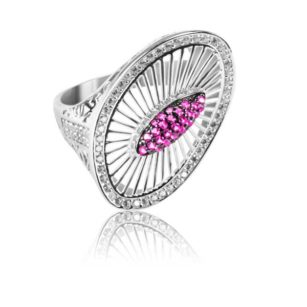 Modern Design Women's Ring Inlaid With Ruby and Diamond Stone