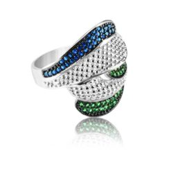 Modern Design Women's Ring Inlaid With Sapphire And Emerald Stone