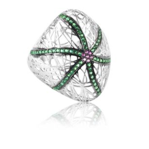 Modern Design Women's Ring Inlaid With Emerald And Ruby Stone