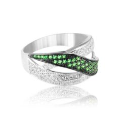 Modern Design Women's Ring Inlaid With Emerald And Diamond Stone