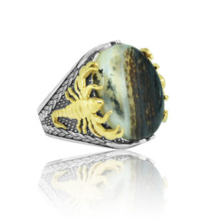 "Rare Natural Yemeni Agate Stone 925 Sterling SILVER ""HANDMADE"""