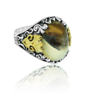 "Natural Yemeni Agate Stone 925 Sterling SILVER ""HANDMADE"""