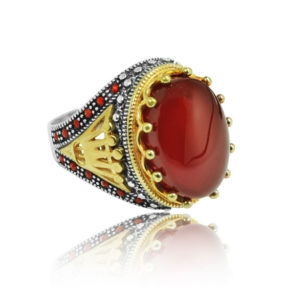 """Dark Red Natural Yemeni Agate Stone Inlaid With Ruby Stone 925 Sterling SILVER """"HANDMADE"""""""