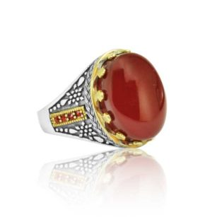 """Rare Natural Yemeni Red Agate Stone Inlaid With Ruby Stone 925 Sterling SILVER """"HANDMADE"""""""
