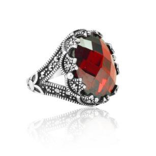 """Red Zircon Stone 925 Sterling Silver Ring Modern Design """"HANDMADE"""""""