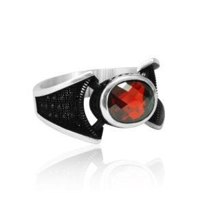 "Red Zircon Stone 925 Sterling Silver Ring ""HANDMADE"""