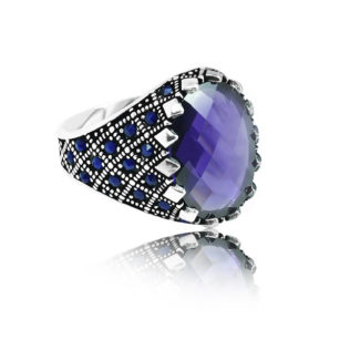 "Modern Design Amethyst Stone Inlaid With Sapphire Stone 925 Sterling Silver Ring ""HANDMADE"""