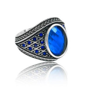 "Special Design Blue Zircon Stone Inlaid With Sapphire Stone 925 Sterling Silver Ring ""HANDMADE"""