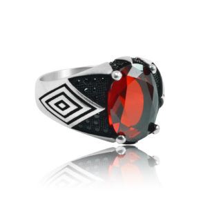 """Modern Design Red Ruby Inlaid With Black Stone 925 Sterling Silver Ring """"HANDMADE"""""""