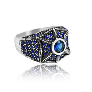 "Modern Design Blue Zircon Stone Inlaid With Sapphire Stone 925 Sterling Silver Ring ""HANDMADE"""