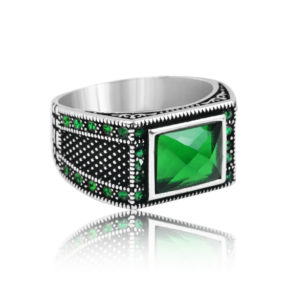 "Modern Design Green Zircon Inlaid With Emerald Stone 925 Sterling Silver Ring ""HANDMADE"""