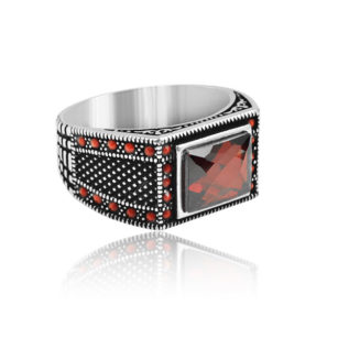 """Modern Design Red Zircon Inlaid With Ruby Stone 925 Sterling Silver Ring """"HANDMADE"""""""