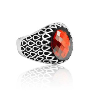 "Special Design Red Zircon Stone 925 Sterling Silver Ring ""HANDMADE"""