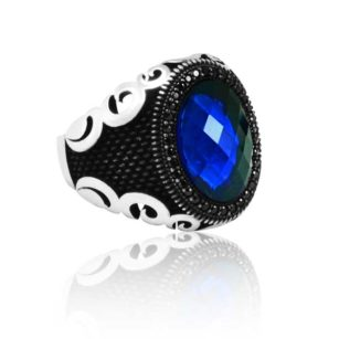 """Special Design Blue Zircon Stone Inlaid With Black Stone 925 Sterling Silver Ring """"HANDMADE"""""""