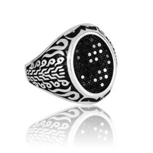 "Special Design Black Zircon Stone 925 Sterling Silver Ring ""HANDMADE"""