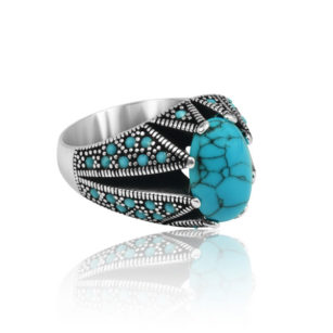 "Special Design Natural Fayrouz Stone Inlad With Fayrouz Stone 925 Sterling Silver Ring ""HANDMADE"""