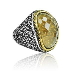 "Special Design citrine Stone 925 Sterling Silver Ring ""HANDMADE"""