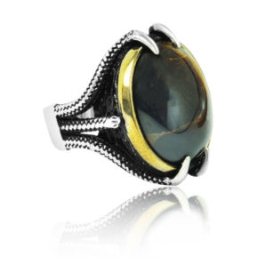 "Special Design Natural Tiger Eye Stone 925 Sterling Silver Ring ""HANDMADE"""