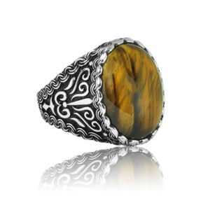 "Special Design Tiger Eye Stone 925 Sterling Silver Ring ""HANDMADE"""