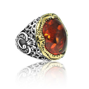 """Special Design Natural Kahraman ''Amber'' Stone 925 Sterling Silver Ring """"HANDMADE"""""""