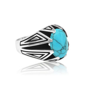 "Special Design Natural Fayrouz Stone 925 Sterling Silver Ring ""HANDMADE"""