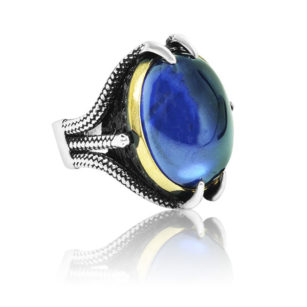 """Special Design Natural Sapphire Stone 925 Sterling Silver Ring """"HANDMADE"""""""