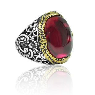 """Special Design Natural Ruby Stone 925 Sterling Silver Ring """"HANDMADE"""""""