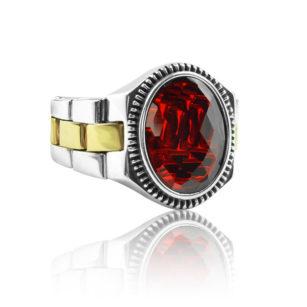 "Modern Design Ruby Stone 925 Sterling Silver Ring ""HANDMADE"""