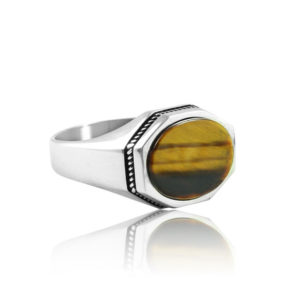 "Natural Tiger Eye Stone 925 Sterling Silver Ring ""HANDMADE"""