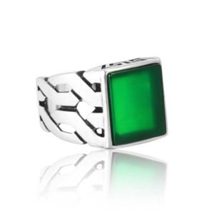 """Special Design Rare Natural Yemeni Green Agate Stone 925 Sterling SILVER """"HANDMADE"""""""