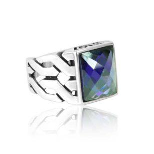 "Special Design Purple Zircon Stone 925 Sterling Silver Ring ""HANDMADE"""