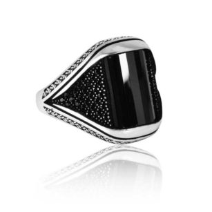 """Special Design Onyx Stone Inlaid With Black Stone 925 Sterling Silver Ring """"HANDMADE"""""""