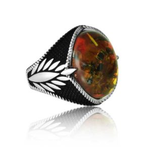"Special Design kahraman Stone Fossils 925 Sterling Silver Ring ""HANDMADE"""