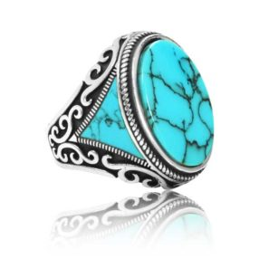 """Special Design Natural Fayrouz Stone 925 Sterling Silver Ring """"HANDMADE"""""""
