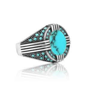 """Special Design Natural Fayrouz Stone Inlad With Fayrouz Stone 925 Sterling Silver Ring """"HANDMADE"""""""
