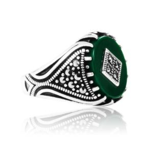 "Natural Green Yemeni Agate Stone 925 Sterling Silver Ring  ""HANDMADE"""