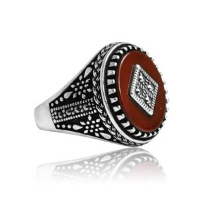 "Natural Dark Red Yemeni Agate Stone 925 Sterling Silver Ring  ""HANDMADE"""