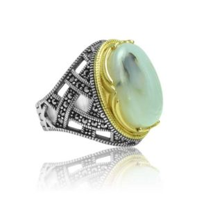 "Natural Yemeni Agate Stone 925 Sterling Silver Ring  ""HANDMADE"""