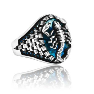 """Special Design Blue Zircon Stone Inlaid With Sapphire Stone 925 Sterling Silver Ring  """"HANDMADE"""""""