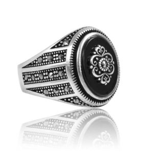 """Special Design Onyx Stone 925 Sterling Silver Ring  """"HANDMADE"""""""