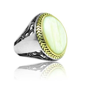 """Special Design Natural seashell Stone 925 Sterling Silver Ring  """"HANDMADE"""""""