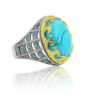 """Special Design Fayrouz Stone Inlad With Fayrouz Stone 925 Sterling Silver Ring  """"HANDMADE"""""""