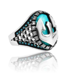 "Special Design Fayrouz Stone Inlad With Fayrouz Stone 925 Sterling Silver Ring  ""HANDMADE"""