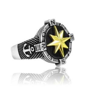Hand Crafted Compass Men's Ring 925 Sterling Silver Ring