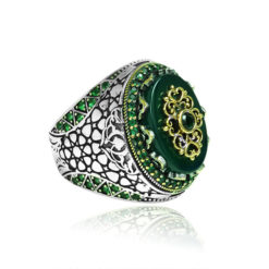 Natural Green Yemeni Agate Stone  Inlaid With emerald Stone 925 Sterling Silver Ring