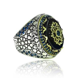 Natural Black Yemeni Agate Stone  Inlaid With sapphire Stone 925 Sterling Silver Ring