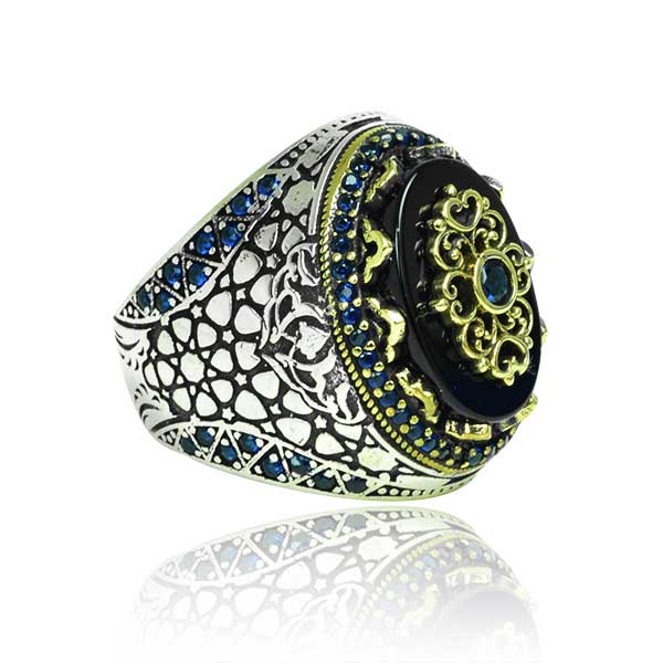 Sterling Silver Mens Ring with Agate Stone