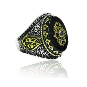 Natural Black Yemeni Agate Stone  Inlaid With Black Stone 925 Sterling Silver Ring