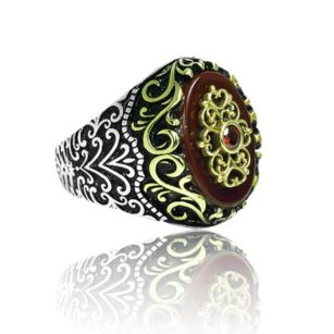 Natural red Yemeni Agate Stone 925 Sterling Silver Ring
